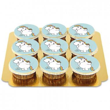 9 blauwe Chubby Unicorn cupcakes