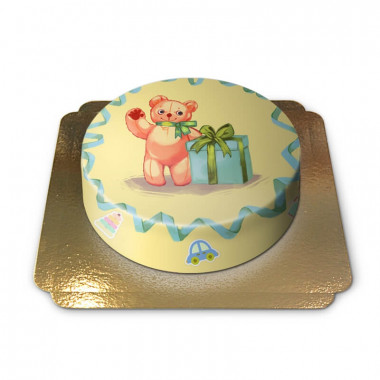 Teddybeer taart geel