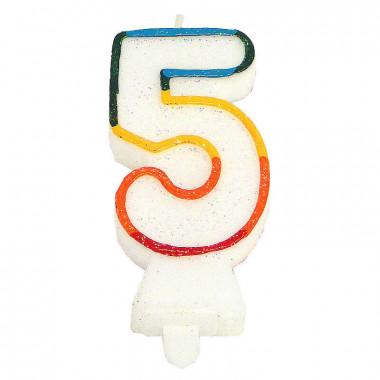 Gekleurde cijferkaars 5, ca.7,5 cm