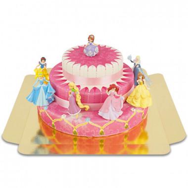 7 Prinsessen op drie-verdiepingen taart met linten
