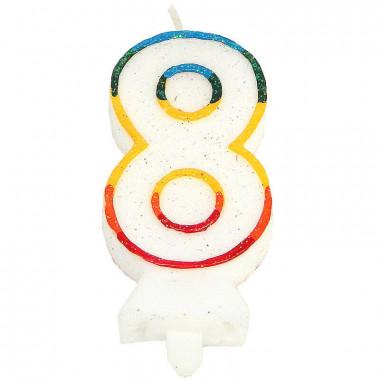 Gekleurde cijferkaars 8, ca.7,5 cm