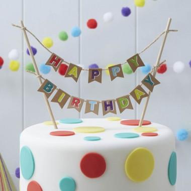 Kleurrijke cake Topper Happy Birthday