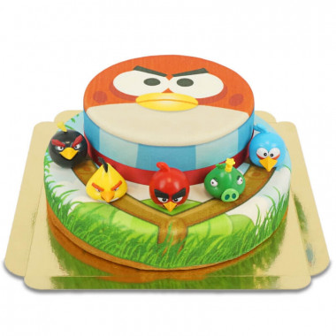 Angry Birds op twee-verdiepingen taart