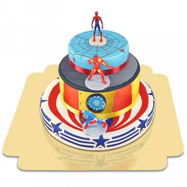 Avengers op drie-verdiepingen superhelden taart