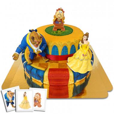 Belle en het Beest op twee-verdiepingen paleis taart