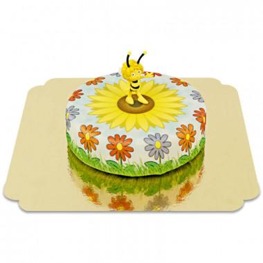 Maya de Bij op zonnebloem taart