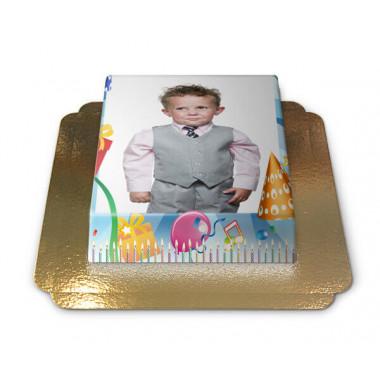 Fototaart in verjaardagskader