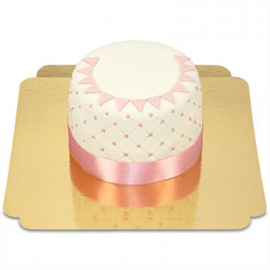 Happy birthday deluxe taart roze - Dubbele hoogte