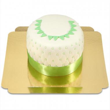 Happy Birthday Deluxe taart groen -  dubbele hoogte