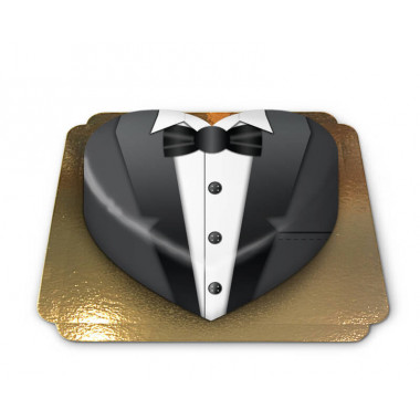 Zwarte bruidegom taart in hartvorm