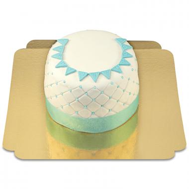 Happy birthday deluxe taart blauw - Dubbele hoogte