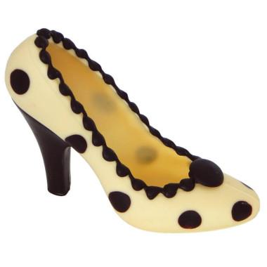 Witte chocolade schoen met donkere stippels