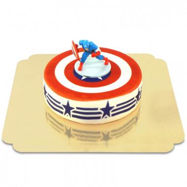 Captain America op beschermschild taart
