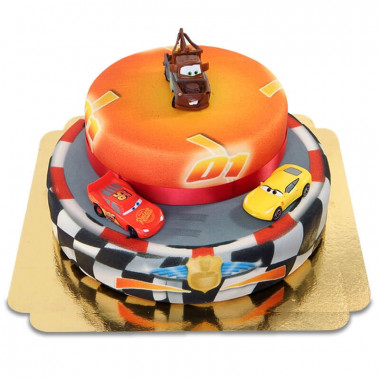 Cars 2 - Lightning McQueen, Cruz Ramirez en Mater op twee-verdiepingen circuit taart met lint