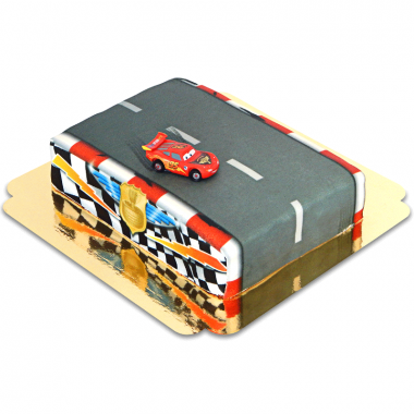 Cars - Lightning McQueen op race circuit taart