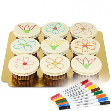 Cupcakes met eetbare inkt stiften