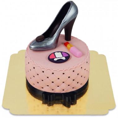 Deluxe Make-Up taart, ronde dubbele hoogte met chocolade schoen
