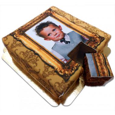 Fototaart  Deluxe - Gouden frame op dubbele fudge taart