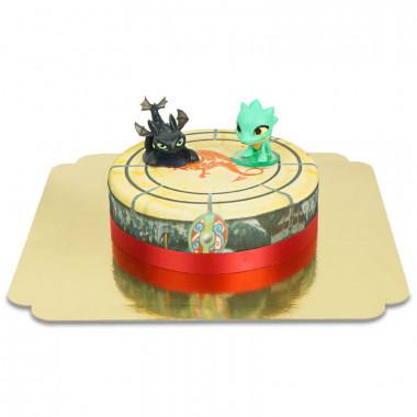 Dragon Toothless en zijn vrienden op een taart