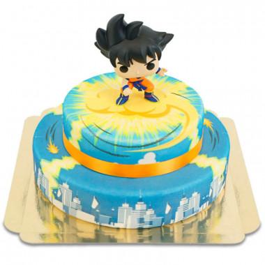 Son Goku op nimbus met 2 verdiepingen boven stadstaart