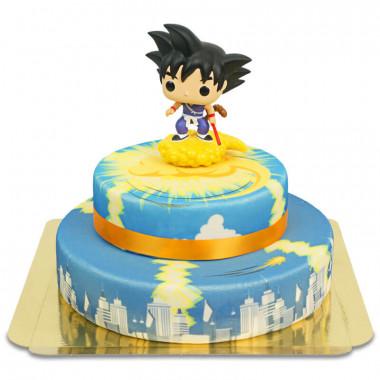 Kid Son Goku op 2-laagse Jindujun over stad taart