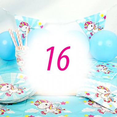 Eenhoorn Partyset voor 16 personen - zonder taart