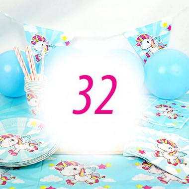 Eenhoorn Partyset voor 32 personen - zonder taart