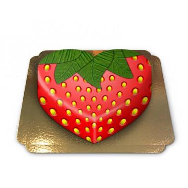 Aardbei taart in de vorm van een hart