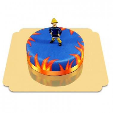 Brandweerman Sam op blauwe taart