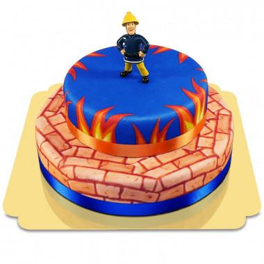 Brandweerman Sam op twee verdiepingen-taart