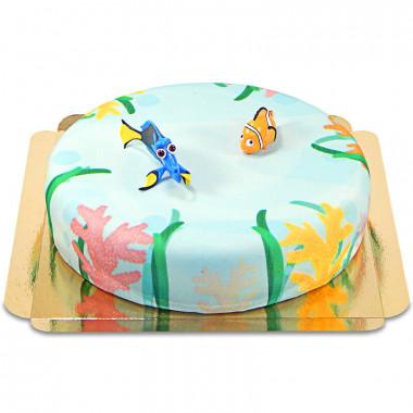 Dorie en Nemo op waterwereld-taart
