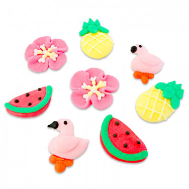 Flamingo suikerdecoratie (8 stuks)