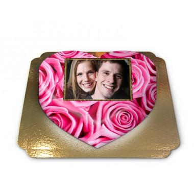 Fototaart met roze rozen in hartvorm