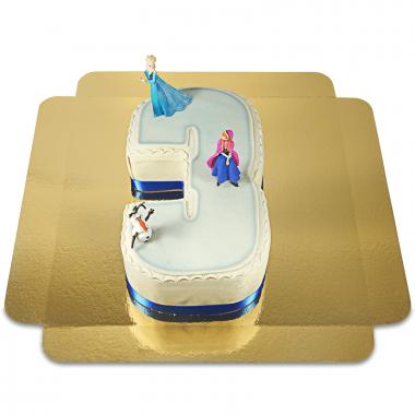 Frozen, Anna & Olaf op cijfer taart Nr. 3