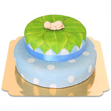 Baby op twee verdiepingen taart, blauw