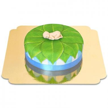 Baby op natuur-taart, blauw