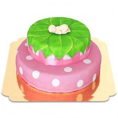 Baby op twee verdiepingen taart, roze