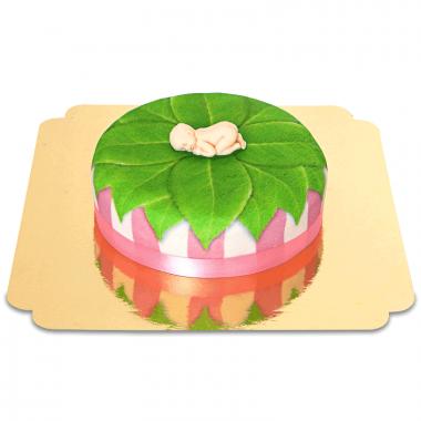 Baby op natuur-taart, roze