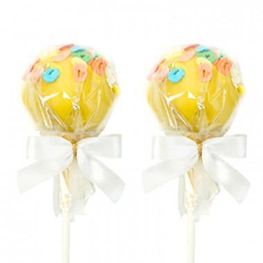 Gele Cake-Pops met letters(12 Stuks)