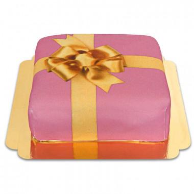Cadeau taart roze