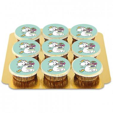 9 groene Chubby Unicorn cupcakes