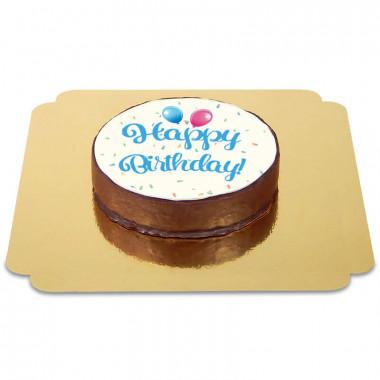 Happy Birthday Sachertaart blauw