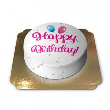 Happy Birthday taart roze