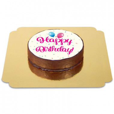 Happy Birthday Sachertaart roze
