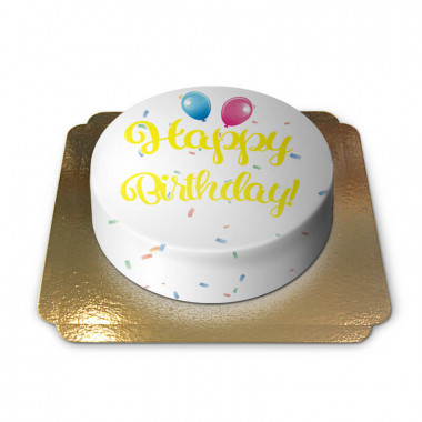 Happy Birthday taart geel