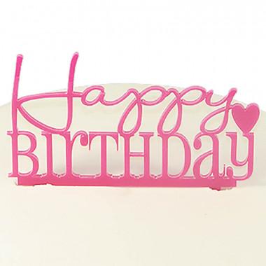 Cake Topper Happy Birthday, roze