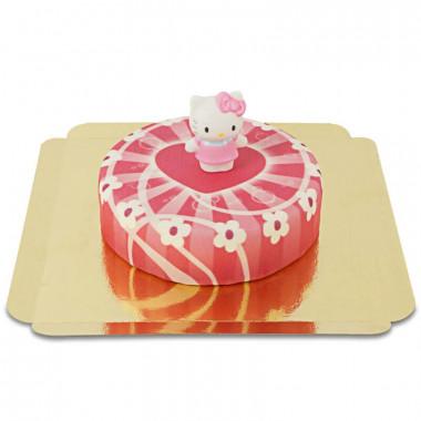 Hello Kitty op roze hartjes taart