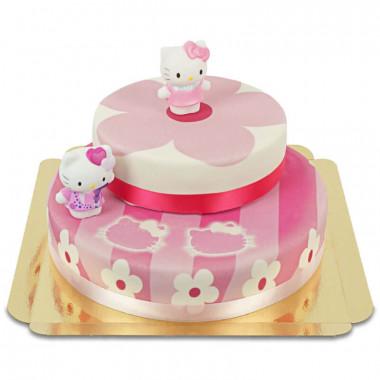Hello Kitty figuren op twee-verdiepingen roze bloemen taart
