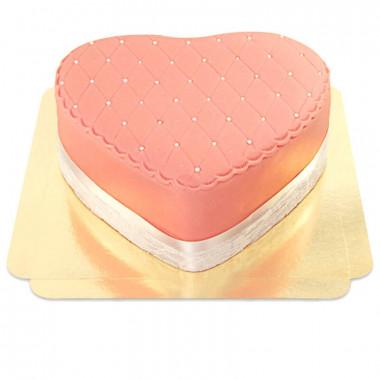 Roze Deluxe Valentijnstaart in hartvorm - dubbele hoogte