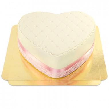 Witte Deluxe Valentijnsdagtaart in hartvorm - dubbele hoogte